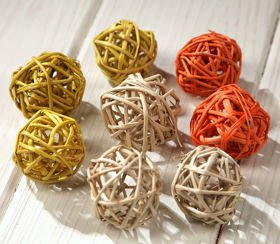 Rattan balls, diameter 3 cm, natural, 36 pcs/pkg