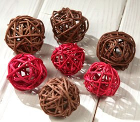 Rattan balls, diameter 3 cm, yellow, 36 pcs/pkg