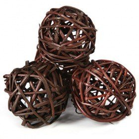 Rattan balls, diameter 4-5 cm, brown, 6 pcs/pkg