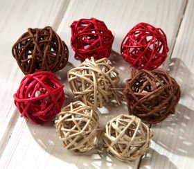 Rattan balls, diameter 4 cm, natural colour, 12 pcs/pkg