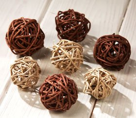 Rattan balls, diameter 5 cm, 12 pcs/pkg, orange