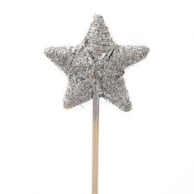 Rattan star on stick, silver with glitter, 6 /32 cm