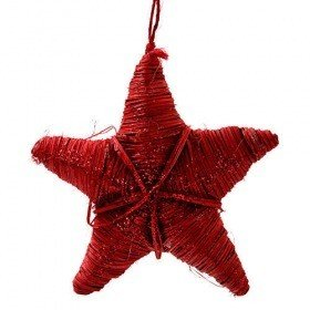 Rattanstar hangr red glittered length of decoration 15 cm overall length 25 cm