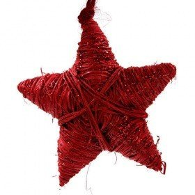 Rattanstar hangr red glittered length of decoration 8 cm overall length 20 cm