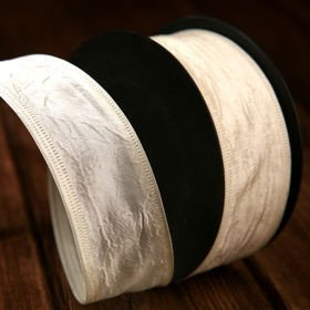 Ribbon taffeta with wire width 40 mm, length 10 m cream