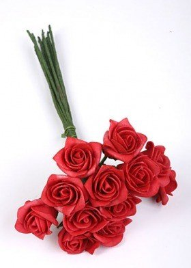 Roses of foam on wire 3 / 25 cm 12 pcs/pkg - red