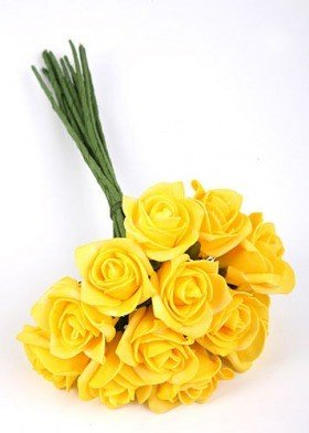 Roses of foam on wire 3 / 25 cm 12 pcs/pkg - yellow