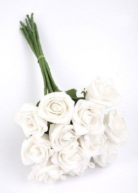 Roses of foam on wire 4 / 15 cm 6 pcs/pkg - white