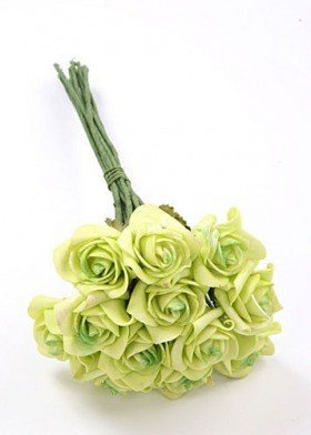 Roses of foam on wire 6 / 25 cm 6 pcs/pkg - light green