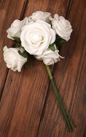 Roses of foam on wire 6 / 25 cm 6 pcs/pkg - white
