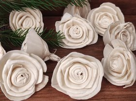 Rossario flowers, large, 4 cm, 12 pcs/pkg - white
