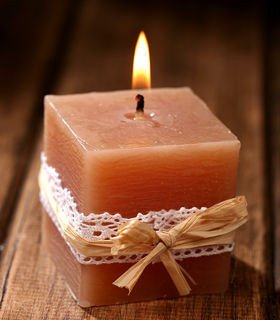 Rustic candle cube 6/6 cm