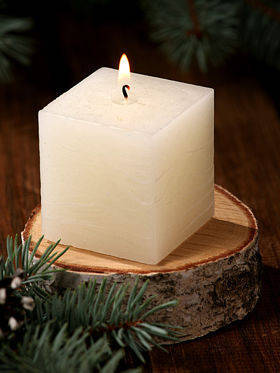 Rustic candle on birch base