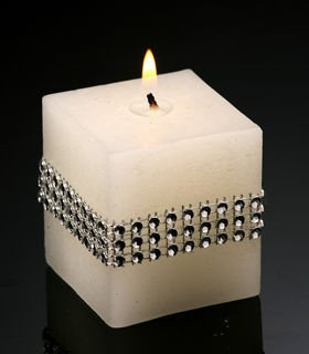 Rustic candle with diamonds white 50/50 mm