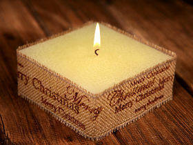 Rustic candle with jute- Brown Merry Christmas 10x10cm
