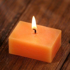Scented rustic candle  6 cm - orange