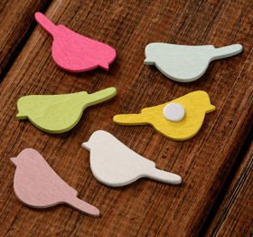 Self-adhesive wooden slices, birds, 5 colours, 20 pcs/pkg