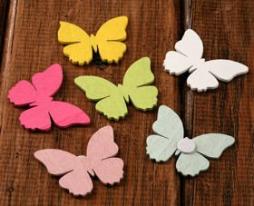 Self-adhesive wooden slices, butterfly 20 pcs/pkg