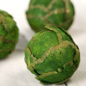 Set of 6 balls decorated with green leaves