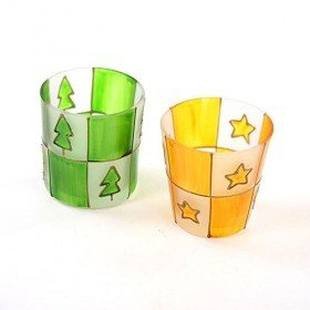 Set of candle holders green / yellow 7.5 cm 4 / set