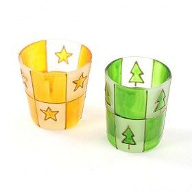 Set of candle stick for tealights green-yellow 5,5 cm 4 pcs.