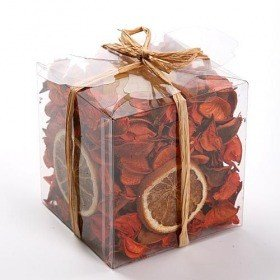 Set of potpourri with candle - orange