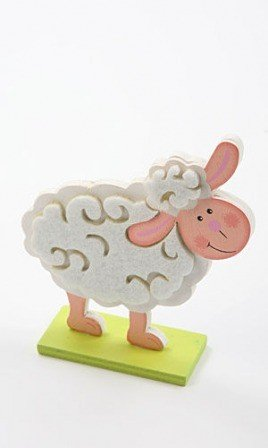 Standing wooden sheep 10/10 cm