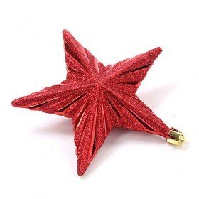 Star-hangers, glittered, 13 cm, 4 pcs/pkg