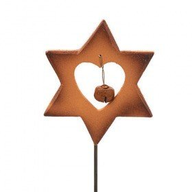 Star on stick with bell, brown, 7/30 cm
