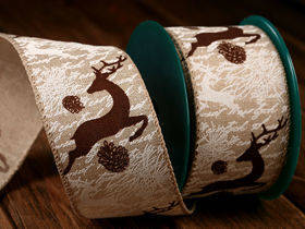 Stiffened jute Christmas ribbon 6 cm / 3 yd lace natural