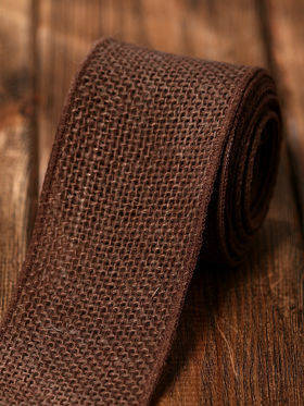 Stiffened  jute ribbon 5 cm / 5 m lace brown