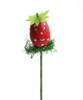 Strawberry on stick 26 cm, decoration 4 cm