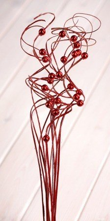 Ting ting, red with pearls, bunch, height 40 cm.