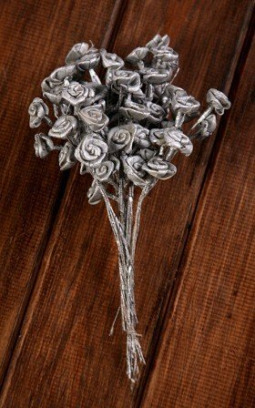 Titonia flowers on wire 2-3cm- 30 pcs/pkg - silver