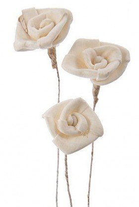 Titonia mini flowers on wire, 30 pcs/pkg - white