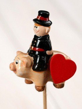 Valentine figurine on stick 7/27cm