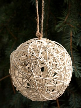 Wicker ball 20 cm - grey