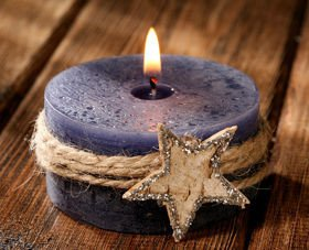 Winter candle with birch star