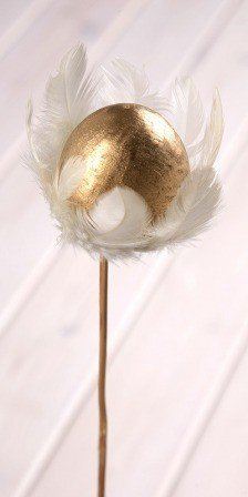 Wooden ball on stick 8/45cm, gold