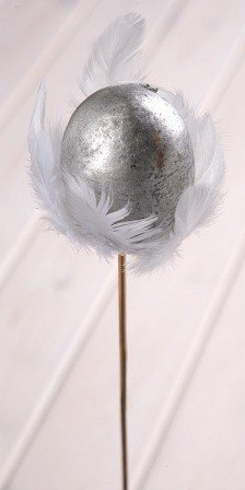 Wooden ball on stick 8/45cm, silver