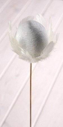 Wooden ball on stick 8/45cm, white