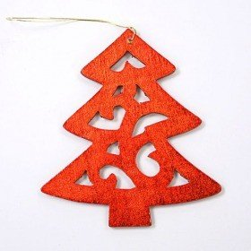 Wooden copper christmas tree length 12 cm, overall 20 cm