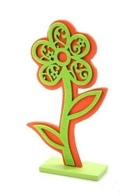 Wooden flower with felt applique - orange-green ca. 25 cm