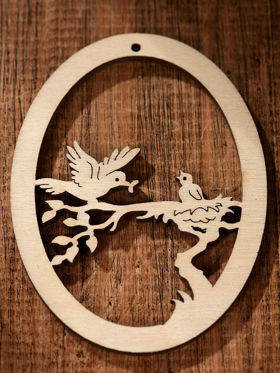 Wooden hanger- birds on branch  7.5cm