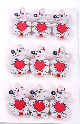 Wooden mice with hearts on clips 9 pcs/set