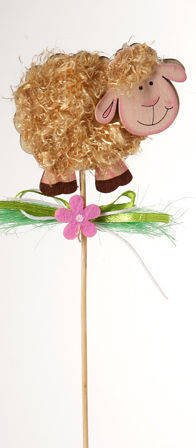 Wooden sheep on stick with brown fur  (6/30cm)