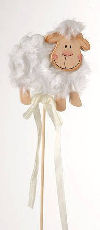 Wooden sheep on stick with white fur  (6/30cm)