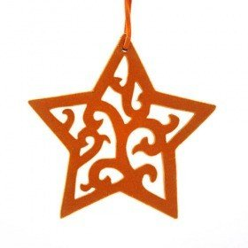 Wooden star hanger covered with orange suede 15 cm