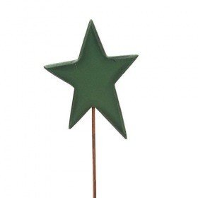 Wooden star on stick, green 6/30 cm