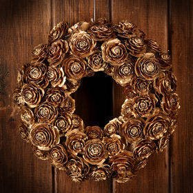 Wreath of Gold Cedar Wood Roses ca. 30cm